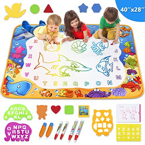 Toyk Aqua Magic Mat - Kids Painting Writing Doodle Board Toy - Color Doodle Drawing Mat Bring Magic Pens Educational Toys for Age 3 4 5 6 7 8 9 10 11 12 Year Old Girls Boys Age Toddler Gift
